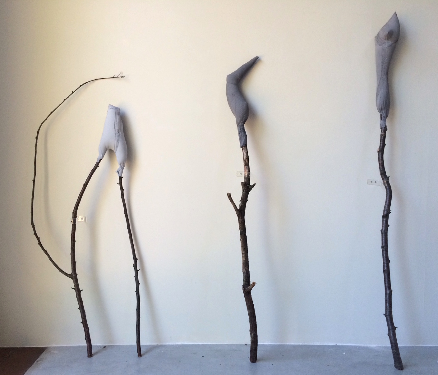 06 Big Stick (hip), Big Stick (arm pit), Big Stick (collar), 2015, jesmonite, found sticks, 124 x 50 x 10 cm, 150 x 20 x 23 cm, 174 x 14 x 15 cm