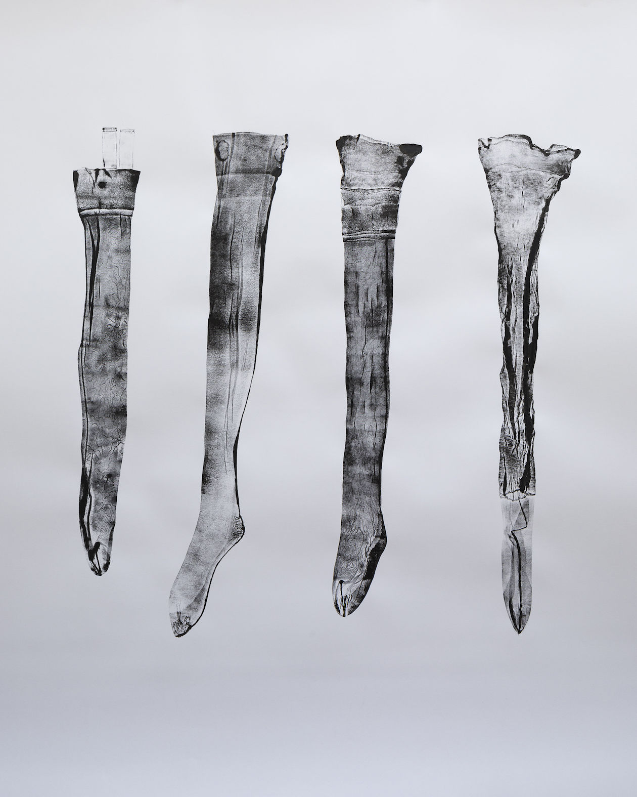15 Stockings (Make do and Mend) I, 2019, ink on paper, 150 x 151 cm, photo Andrew Youngson