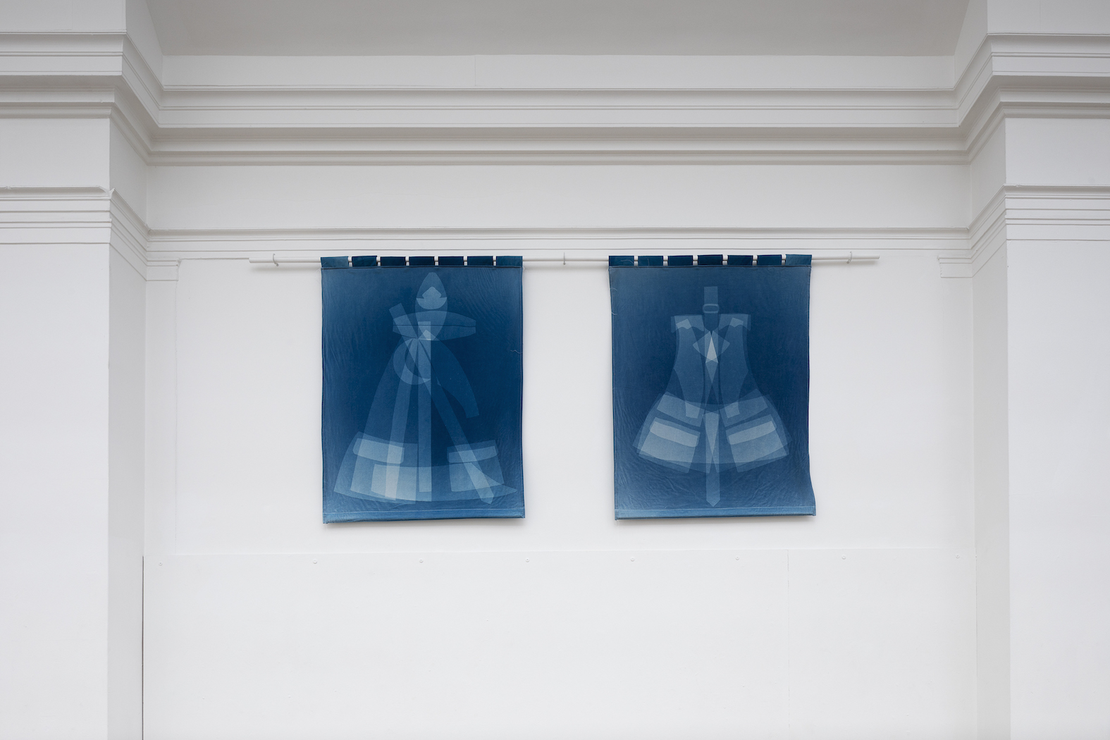 16 Brenda, Marion, 2019, cyanotype on fabric, 102 x 76 cm each, Worthing Museum, photo Andrew Youngson